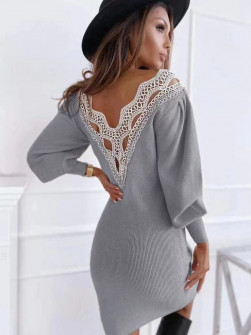 Γυναικείο φόρεμα με εντυπωσιακή πλάτη 3256 γκρι