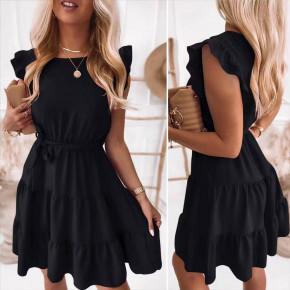 Γυναικείο φόρεμα με ζώνη 5856 μαύρο