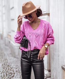 Γυναικείο πουλόβερ καρδιές 2038 ροζ