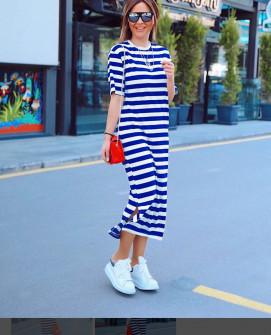 Γυναικείο μακρύ φόρεμα με κοντό μανίκι 5141 μπλε