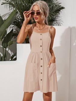 Γυναικείο φόρεμα με κουμπιά 5799 μπεζ