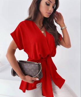 Γυναικεία μπλούζα με ζώνη 5605 κόκκινη