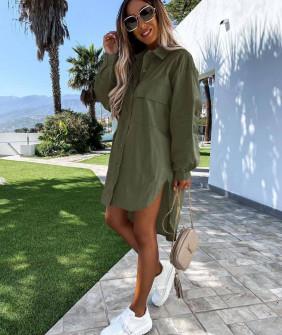 Γυναικείο χαλαρό πουκάμισο 5538 σκούρο πράσινο