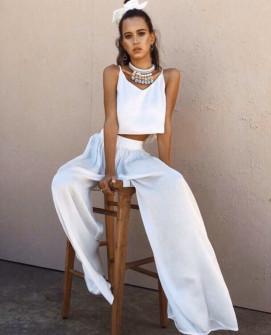 Γυναικείο σετ τοπάκι και παντελόνι 5069 άσπρο