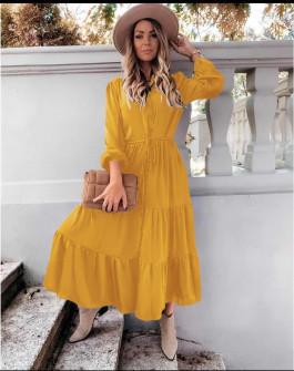 Γυναικείο μακρύ φόρεμα με κουμπιά 5337 κίτρινο