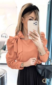 Γυναικεία μπλούζα με φιόγκο 3949 πορτοκαλί