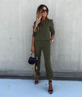 Γυναικείο σετ μπλούζα και παντελόνι 5301 σκούρο πράσινο