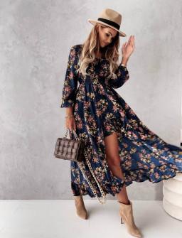Γυναικείο φόρεμα με ασύμμετρο πίσω μέρος 56306 σκούρο μπλε