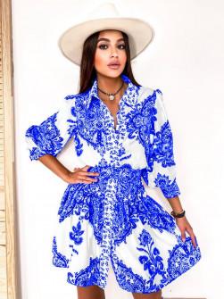 Γυναικείο φόρεμα με σχέδια με ζώνη στη μέση 5490 μπλε