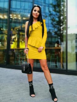 Γυναικείο φόρεμα με ένα μανίκι 2022 κίτρινο