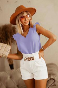 Γυναικεία μπλούζα με κορδόνι στην πλάτη 5650 μωβ