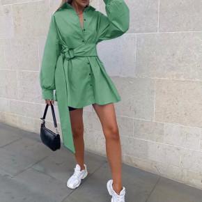 Γυναικεία πουκαμίσα με ζώνη 5023 πράσινη