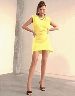 Γυναικείο φόρεμα με βάτες στους ώμους 5151 κίτρινο