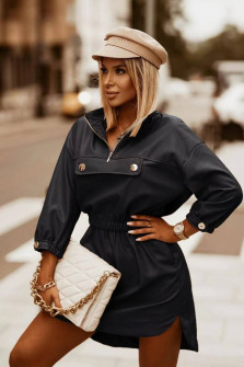 Γυναικείο δερμάτινο μπλουζοφόρεμα 5986 μαύρο