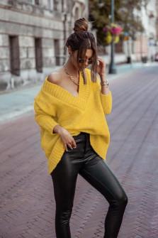 Γυναικείο χαλαρό πουλόβερ 9530 κίτρινο