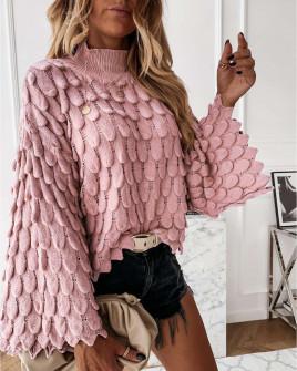 Γυναικείο πουλόβερ με φαρδύ μανίκι 00695 πούδρα