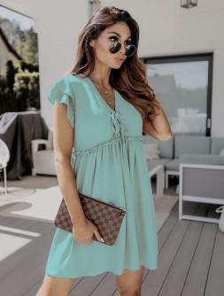 Γυναικείο φόρεμα με κορδόνια 2481 μπεζ
