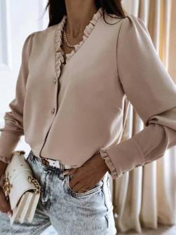 Γυναικείο μοντέρνο πουκάμισο 5993 μπεζ