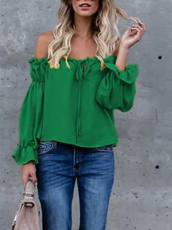 Дамска блуза с ластично деколте 3168 зелена