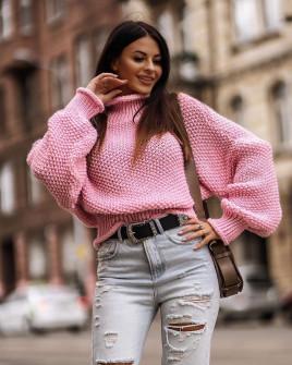 Πουλόβερ με γιακά ζιβάγκο 00820 ροζ