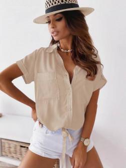 Γυναικείο πουκάμισο με δέσιμο 5606 μπεζ