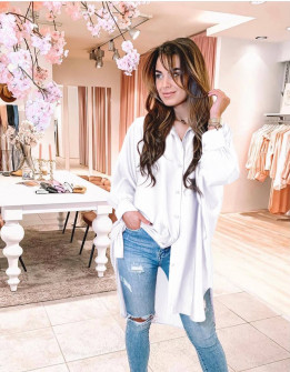 Γυναικείο σατέν πουκάμισο 5535 άσπρο