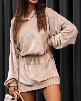 Γυναικείο μπλουζοφόρεμα βελουτέ 3305 μπεζ