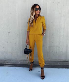 Γυναικείο σετ μπλούζα και παντελόνι 5301 κίτρινο