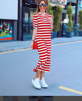 Γυναικείο μακρύ φόρεμα με κοντό μανίκι 5141 κόκκινο