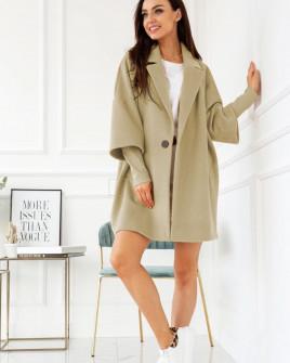 Γυναικείο παλτό με εντυπωσιακό μανίκι 7982 μπεζ