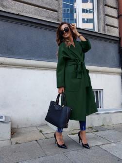 Γυναικείο παλτό με φόδρα 5325 πράσινο