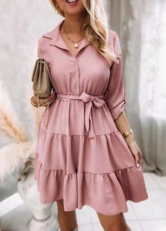 Γυναικείο φόρεμα με ζώνη 5971 ροζ