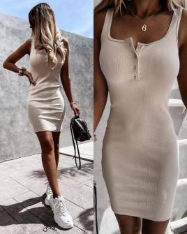 Γυναικείο εφαρμοστό φόρεμα 5715 μπεζ