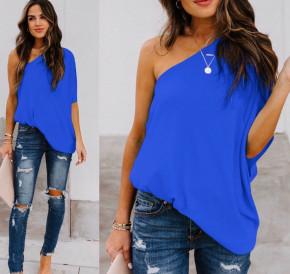 Χαλαρή μπλούζα με έναν ώμο 5084 μπλε
