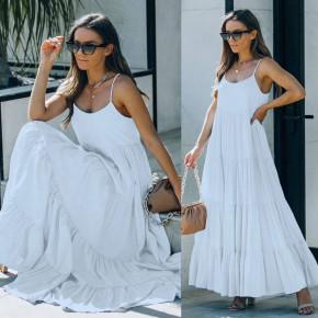 Γυναικείο μακρύ χαλαρό φόρεμα 8105 άσπρο