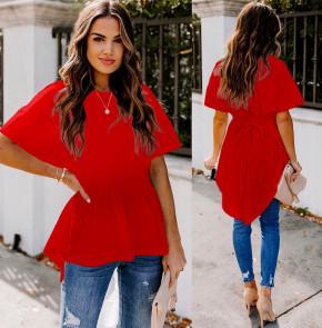 Γυναικείο μπλουζοφόρεμα με κορδόνι 5063 κόκκινο
