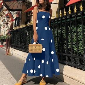 Γυναικείο μακρύ φόρεμα πουά 5061 σκούρο μπλε