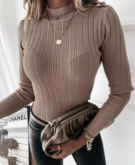 Γυναικεία μπλούζα με χρυσά κουμπιά 4055 μπεζ