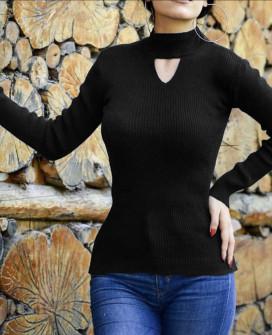 Γυναικεία μπλούζα ημιζιβάγκο 81025 μαύρο