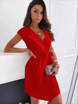 Γυναικείο φόρεμα με κουμπιά και ζώνη 5720 κόκκινο