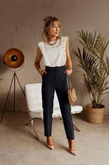 Γυναικείο παντελόνι με ζώνη 5557 μαύρο