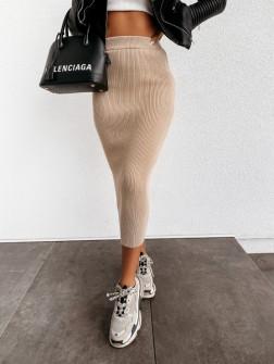 Γυναικεία ελαστική φούστα 4043 μπεζ