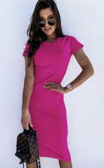 Γυναικείο εφαρμοστό φόρεμα μίντι 5159 φούξια