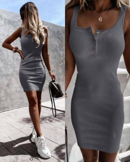 Γυναικείο εφαρμοστό φόρεμα 5715 γραφίτη