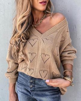 Γυναικείο πουλόβερ καρδιές 2038 καμηλό