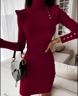 Γυναικείο εφαρμοστό φόρεμα 5442 μπορντό