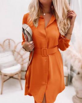 Γυναικείο φόρεμα με ζώνη 5961 πορτοκαλί