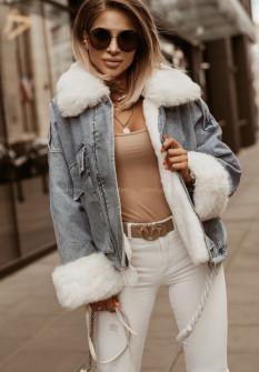 Γυναικείο τζιν μπουφάν με γούνα 4092 μπλε με άσπρη γούνα