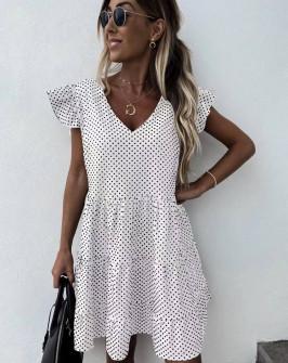 Γυναικείο φόρεμα πουά 5722 άσπρο