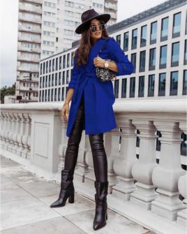 Γυναικείο παλτό με φόδρα και ζώνη 5334 μπλε